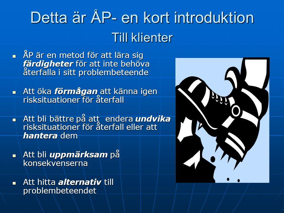Lektion 1, Målen - Till kollegor Målen i lektion 1 att etablera en arbetsallians, bland annat genom att berätta om värdet av ÅP-färdigheter för patien