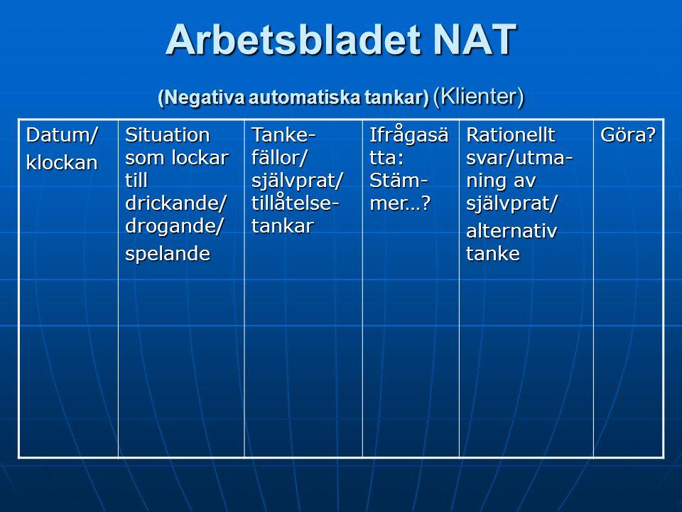 Rational, Lektion 3 (Klienter) NAT, negativa automatiska tankar Tankar: Det är för jobbigt. Jag kommer inte att klara det här. Jag mår verkligen dålig