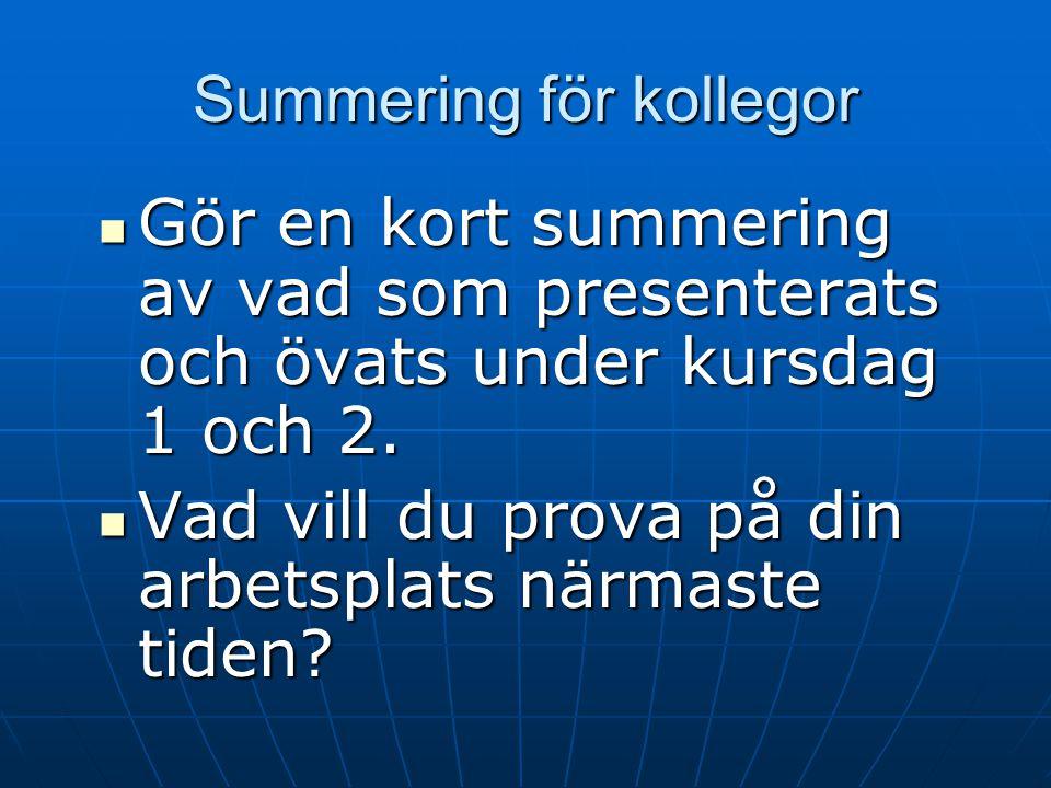 Hemuppgifter för kollegor Öva att presentera ÅP Öva att presentera ÅP Läsa manualtexterna för lektion 4-8 Läsa manualtexterna för lektion 4-8 Prova at