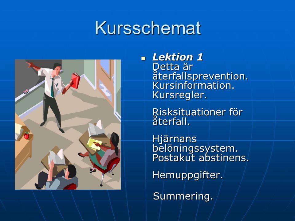 Kursschemat Lektion 1 Kursinformation. Kursregler. Risksituationer. Hjärnans belöningssystem och PAA. Lektion 1 Kursinformation. Kursregler. Risksitua