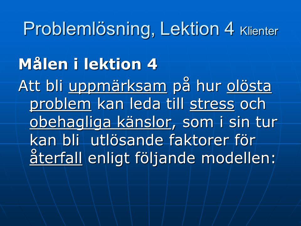Problemlösning, Lektion 4 Klienter Agenda Agenda Agenda för lektionen Agenda för lektionen Kort repetition av lektion 3 Kort repetition av lektion 3 H