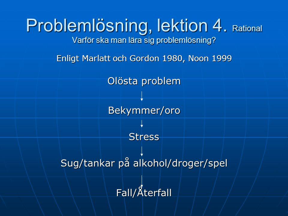Problemlösning, Lektion 4 Klienter Målen i lektion 4 Att bli uppmärksam på hur olösta problem kan leda till stress och obehagliga känslor, som i sin tur kan bli utlösande faktorer för återfall enligt följande modellen:
