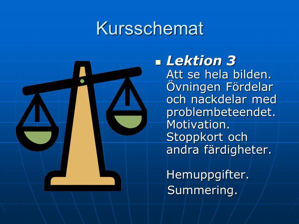 Kursschemat Lektion 2 Lektion 2 Detta är sug. Att undvika eller hantera sug. Sugsurfing. Avslappning. Hemuppgifter. Summering. Summering.