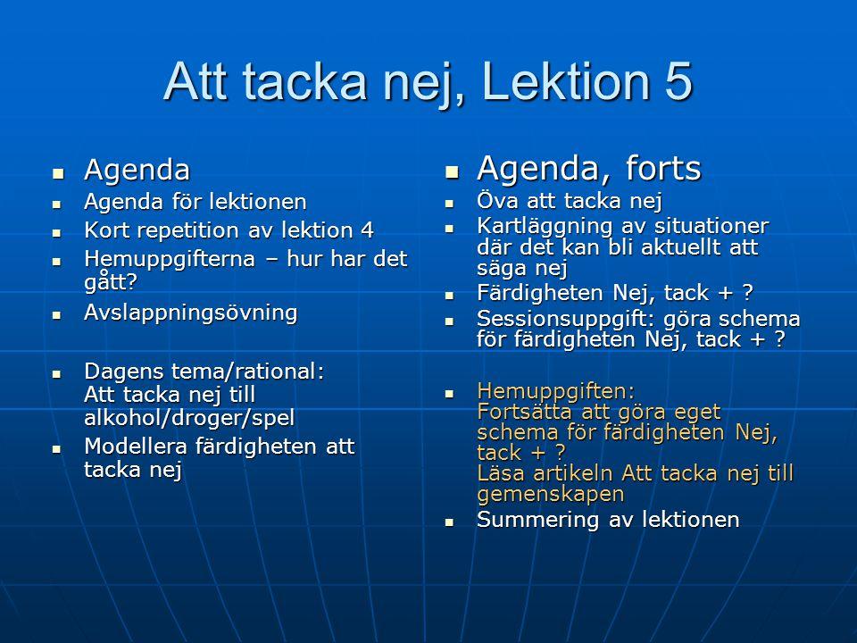 Grupparbetet. Färdigheten Grupparbetet. Färdigheten Nej, tack på olika nivåer och sätt Gör följande lista: Strategi Situation?Vem/vilka? Strategi Situ