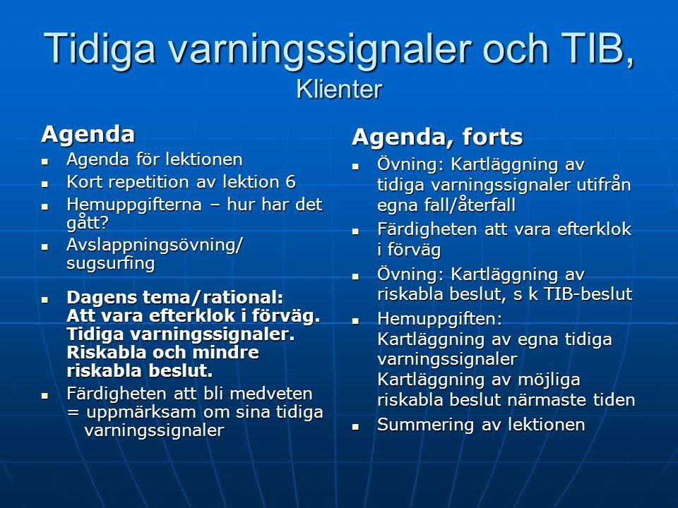 Till kollegor Tidiga varningssignaler och TIB (T ill synes Irrelevanta Beslut ): Tidiga varningssignaler och TIB (T ill synes Irrelevanta Beslut ): le