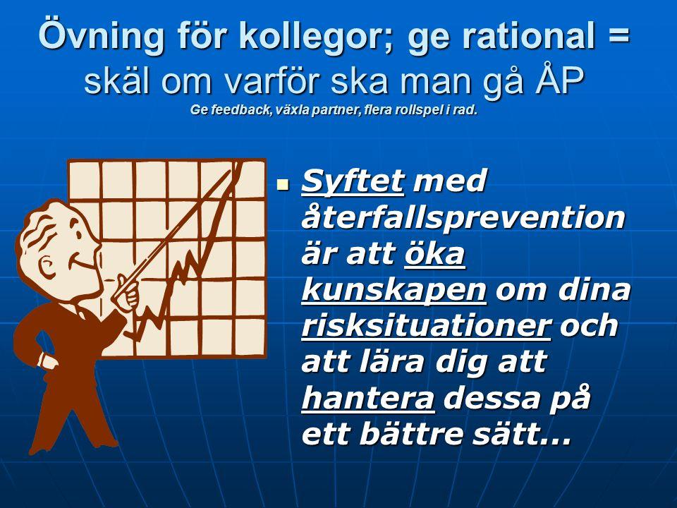 Tidiga varningssignaler och TIB, Lektion 7 Agenda Agenda för lektionen Agenda för lektionen Kort repetition av lektion 6 Kort repetition av lektion 6