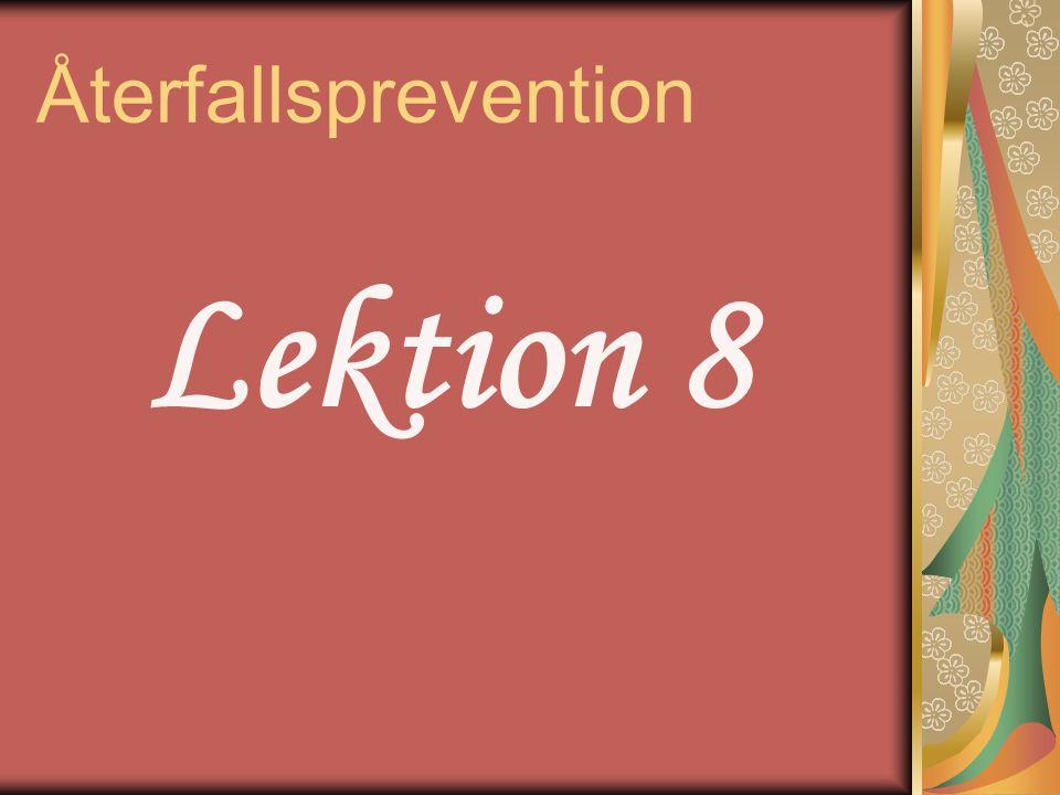 Fortsätta Återfallsprevention Lägg till valfria sessioner se sidan 64 i Väckarklockan Lägg till valfria sessioner se sidan 64 i Väckarklockan