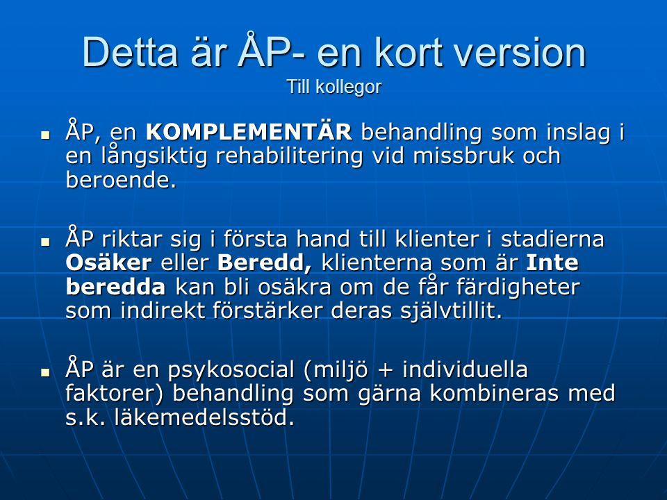 Detta är ÅP- i förhållande till förändringsstadier Ej beredd OsäkerBeredd Förändringsstadier enligt Rollnick Erbjud information Utveckla ambivalens Stöd handling Bedöm beredskap till förändring.
