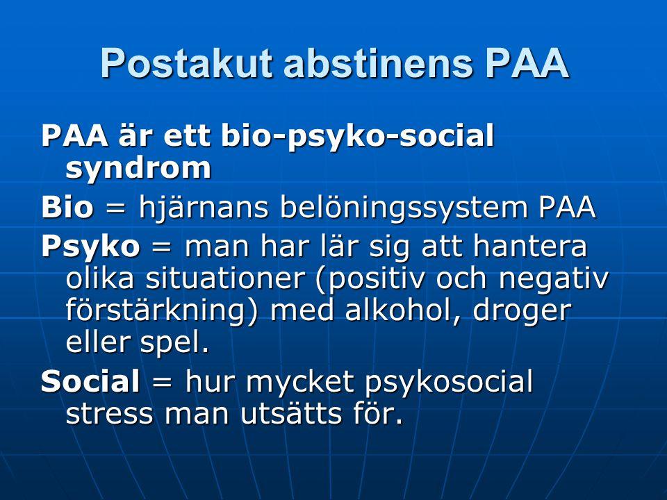 Postakut abstinens PAA Källa: Vid sunda vätskor. Gorski, Miller. Syndrom = en grupp av symtom Syndrom = en grupp av symtom Post = efter Post = efter P