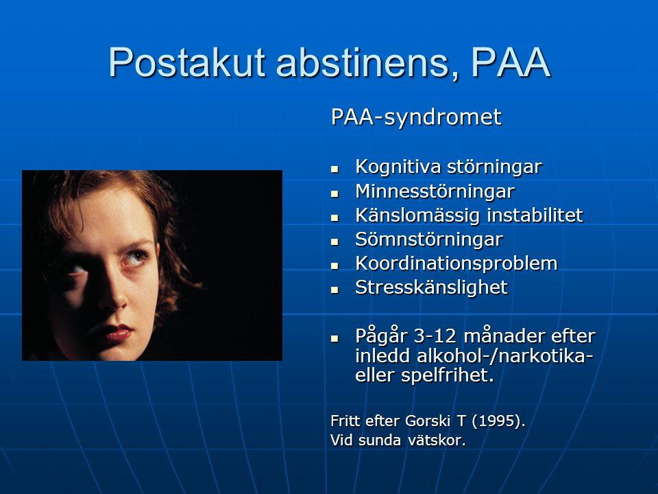Postakut abstinens PAA PAA är ett bio-psyko-social syndrom Bio = hjärnans belöningssystem PAA Psyko = man har lär sig att hantera olika situationer (positiv och negativ förstärkning) med alkohol, droger eller spel.