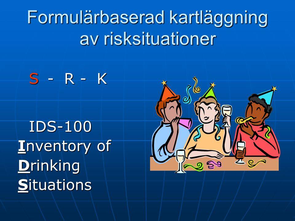 Övningen S - R – K Kollegor Gör en beteendeanalys på ett eget problembeteende, en klient eller ett påhittad klient/problembeteende, när, hur, på vilket sätt hände det.