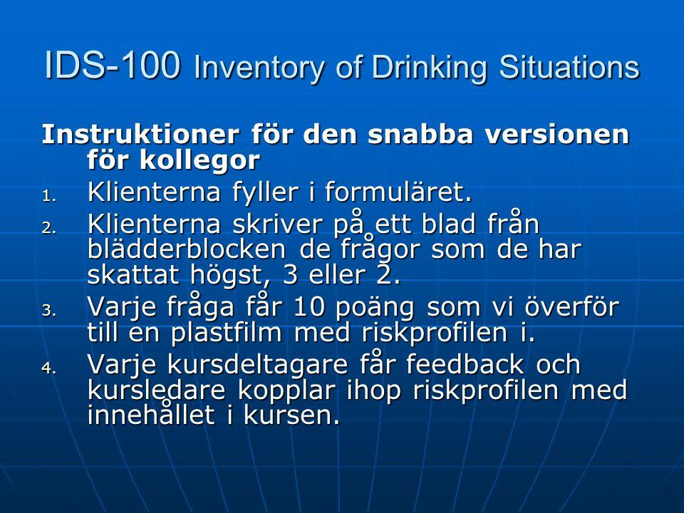 IDS-100 Inventory of Drinking Situations Instruktioner för en komplett riskprofil 1. Efter att klienterna har fyllt i formuläret. 2. Överför alla svar