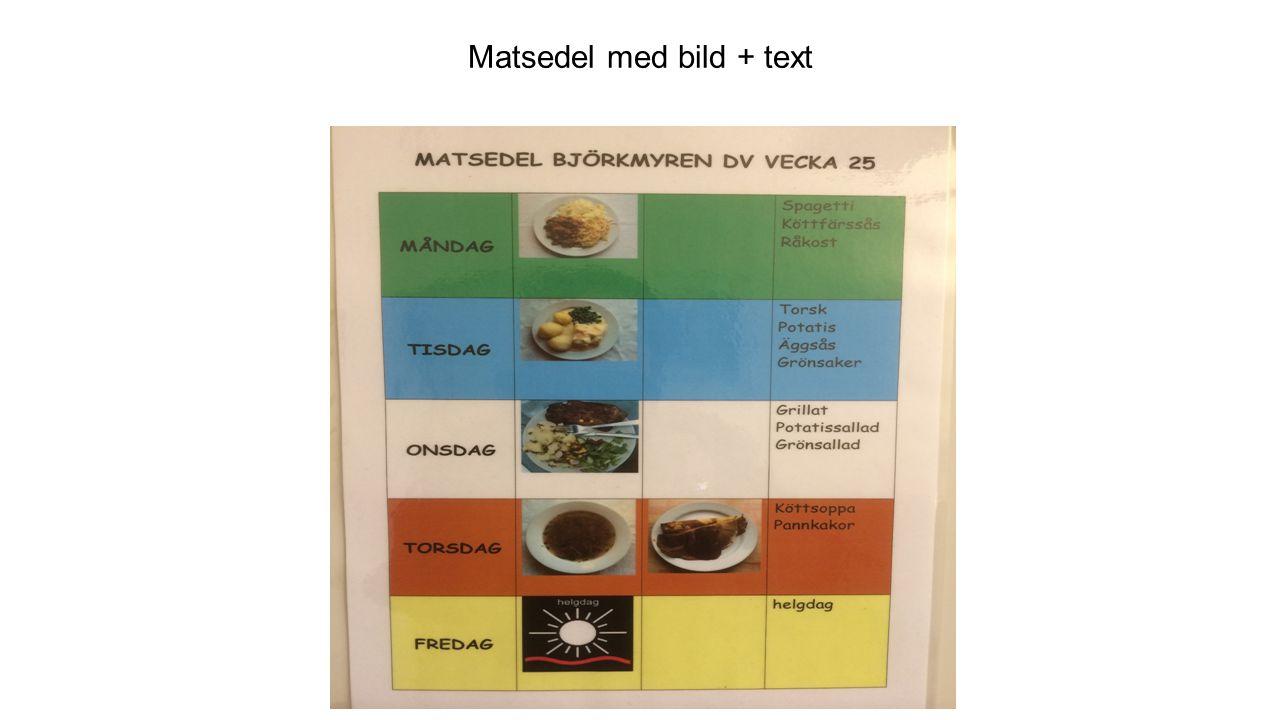 Matsedel med bild + text