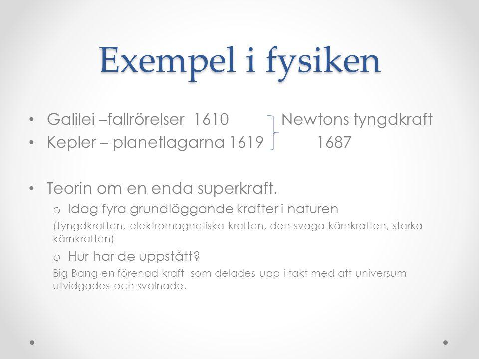 Exempel i fysiken Galilei –fallrörelser 1610 Newtons tyngdkraft Kepler – planetlagarna 16191687 Teorin om en enda superkraft. o Idag fyra grundläggand