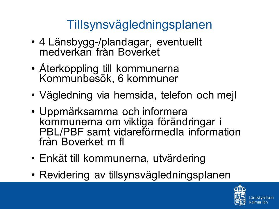 Tillsynsvägledningsplanen 4 Länsbygg-/plandagar, eventuellt medverkan från Boverket Återkoppling till kommunerna Kommunbesök, 6 kommuner Vägledning vi