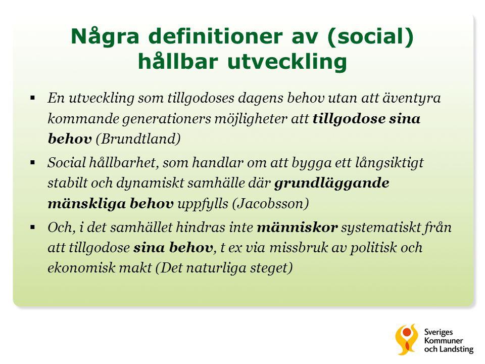 Några definitioner av (social) hållbar utveckling  En utveckling som tillgodoses dagens behov utan att äventyra kommande generationers möjligheter at