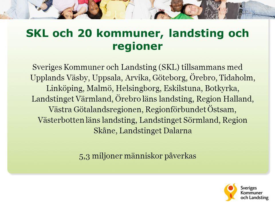 SKL och 20 kommuner, landsting och regioner Sveriges Kommuner och Landsting (SKL) tillsammans med Upplands Väsby, Uppsala, Arvika, Göteborg, Örebro, T