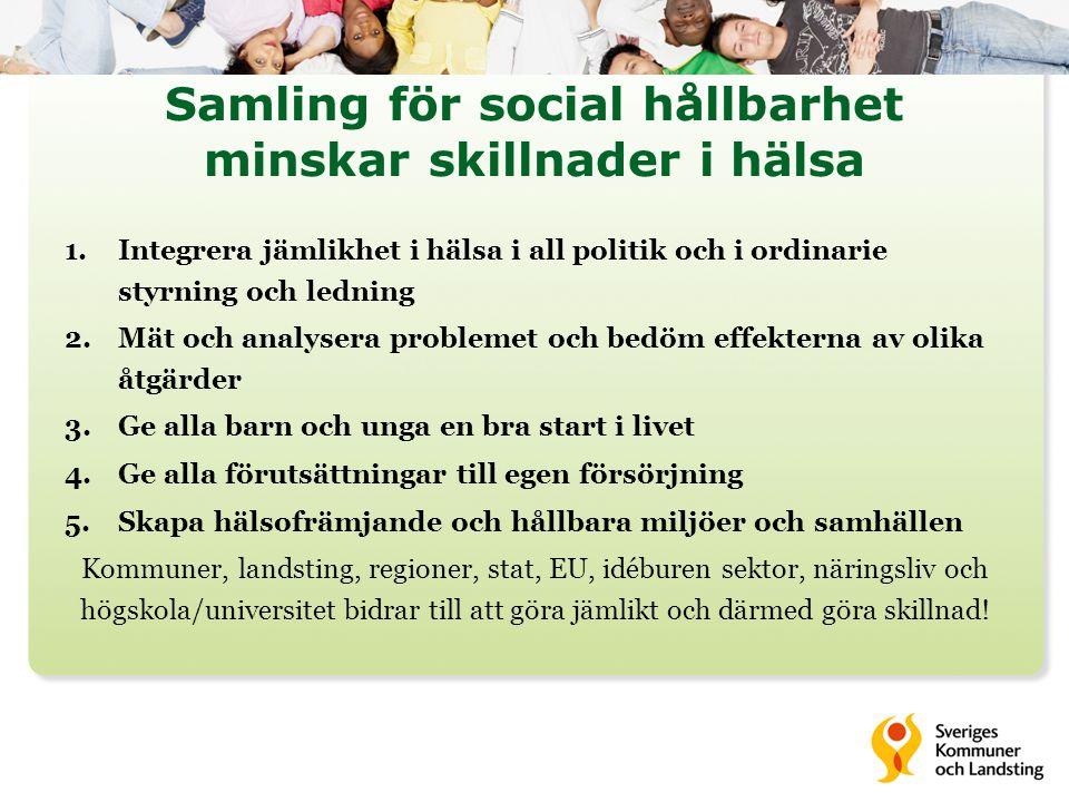 Samling för social hållbarhet minskar skillnader i hälsa 1.Integrera jämlikhet i hälsa i all politik och i ordinarie styrning och ledning 2.Mät och an