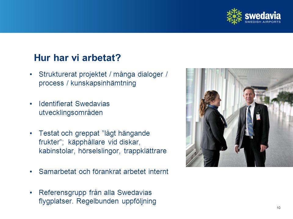 Hur har vi arbetat? Strukturerat projektet / många dialoger / process / kunskapsinhämtning Identifierat Swedavias utvecklingsområden Testat och greppa