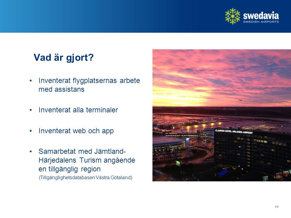 Vad är gjort? Inventerat flygplatsernas arbete med assistans Inventerat alla terminaler Inventerat web och app Samarbetat med Jämtland- Härjedalens Tu