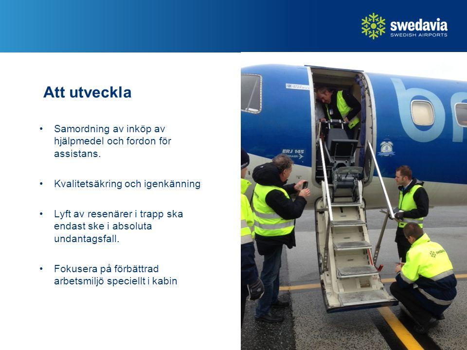 Att utveckla Samordning av inköp av hjälpmedel och fordon för assistans. Kvalitetsäkring och igenkänning Lyft av resenärer i trapp ska endast ske i ab