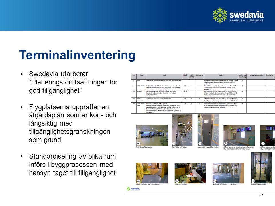 17 Terminalinventering Swedavia utarbetar Planeringsförutsättningar för god tillgänglighet Flygplatserna upprättar en åtgärdsplan som är kort- och långsiktig med tillgänglighetsgranskningen som grund Standardisering av olika rum införs i byggprocessen med hänsyn taget till tillgänglighet