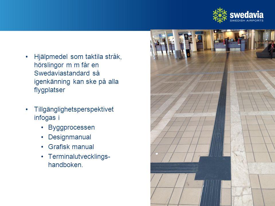 Hjälpmedel som taktila stråk, hörslingor m m får en Swedaviastandard så igenkänning kan ske på alla flygplatser Tillgänglighetsperspektivet infogas i Byggprocessen Designmanual Grafisk manual Terminalutvecklings- handboken.