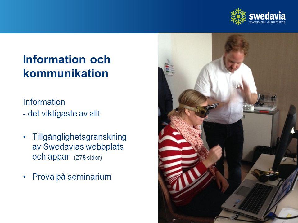 Information och kommunikation Information - det viktigaste av allt Tillgänglighetsgranskning av Swedavias webbplats och appar (278 sidor) Prova på seminarium 19