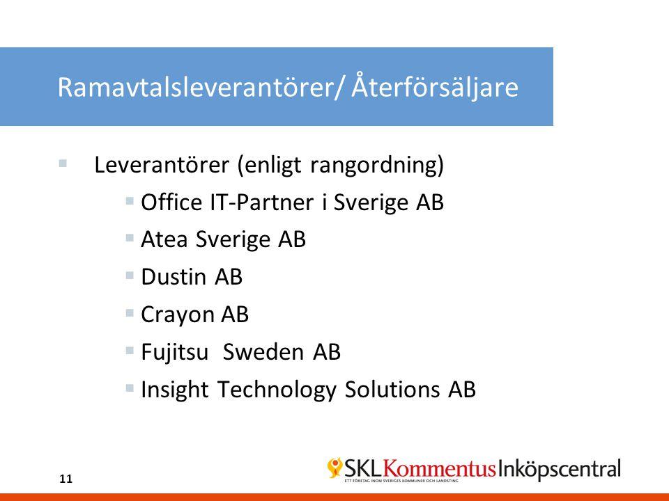 Ramavtalsleverantörer/ Återförsäljare  Leverantörer (enligt rangordning)  Office IT-Partner i Sverige AB  Atea Sverige AB  Dustin AB  Crayon AB  Fujitsu Sweden AB  Insight Technology Solutions AB 11