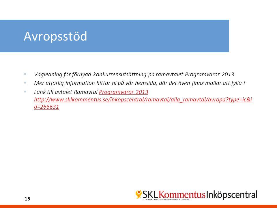 Avropsstöd  Vägledning för förnyad konkurrensutsättning på ramavtalet Programvaror 2013  Mer utförlig information hittar ni på vår hemsida, där det även finns mallar att fylla i  Länk till avtalet Ramavtal Programvaror 2013 http://www.sklkommentus.se/inkopscentral/ramavtal/alla_ramavtal/avropa?type=ic&i d=266631 15