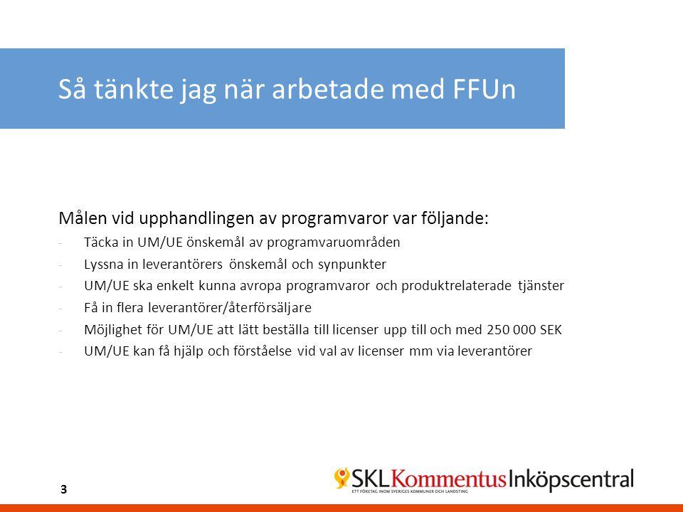 Så tänkte jag när arbetade med FFUn Målen vid upphandlingen av programvaror var följande: -Täcka in UM/UE önskemål av programvaruområden -Lyssna in le