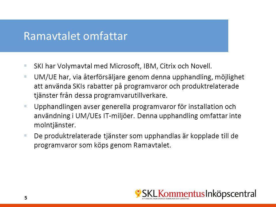 Ramavtalet omfattar  SKI har Volymavtal med Microsoft, IBM, Citrix och Novell.  UM/UE har, via återförsäljare genom denna upphandling, möjlighet att