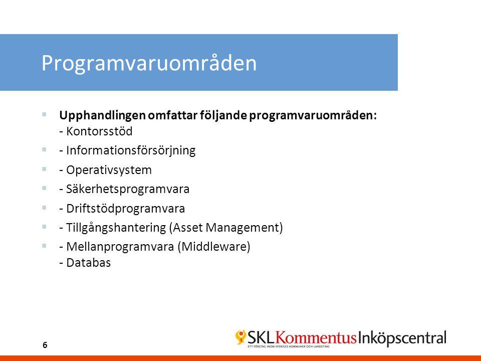 Programvaruområden  Upphandlingen omfattar följande programvaruområden: - Kontorsstöd  - Informationsförsörjning  - Operativsystem  - Säkerhetsprogramvara  - Driftstödprogramvara  - Tillgångshantering (Asset Management)  - Mellanprogramvara (Middleware) - Databas 6