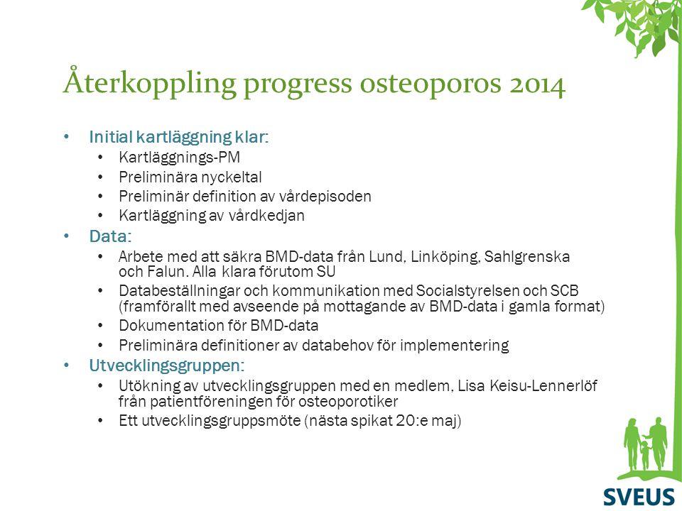 Återkoppling progress osteoporos 2014 Initial kartläggning klar: Kartläggnings-PM Preliminära nyckeltal Preliminär definition av vårdepisoden Kartlägg