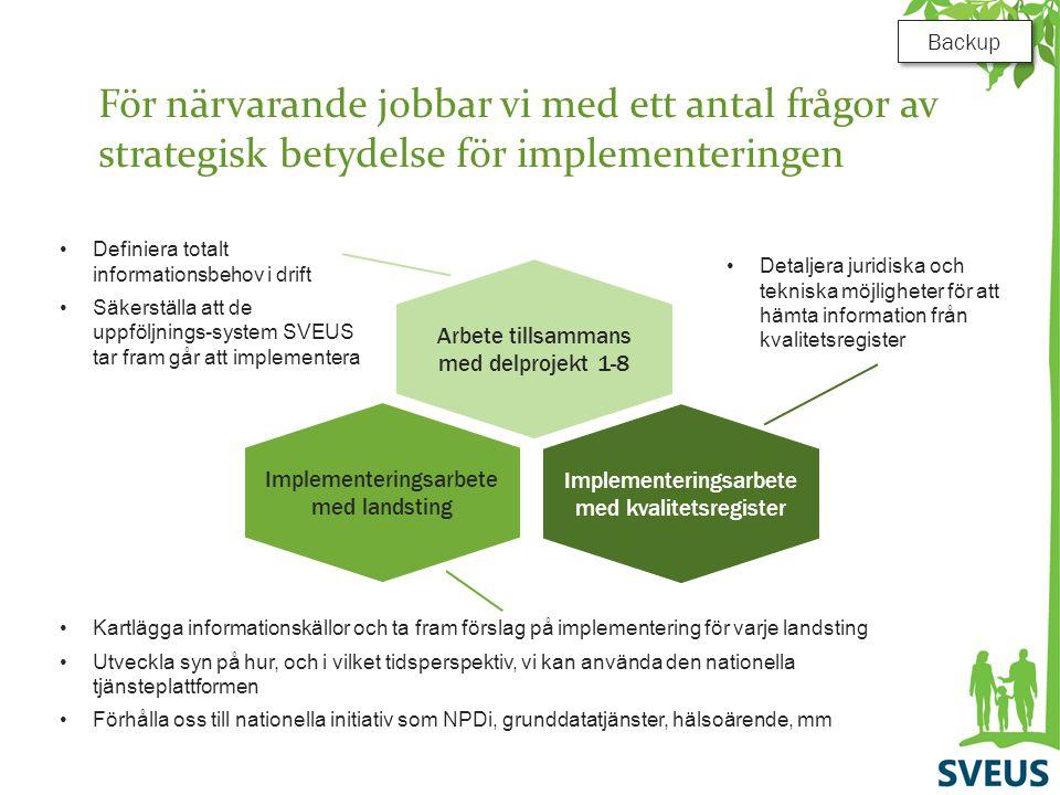 För närvarande jobbar vi med ett antal frågor av strategisk betydelse för implementeringen Arbete tillsammans med delprojekt 1-8 Implementeringsarbete