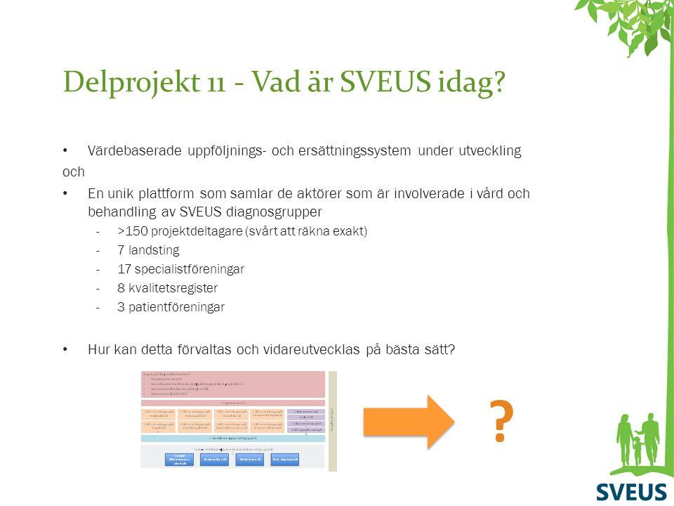Delprojekt 11 - Vad är SVEUS idag? Värdebaserade uppföljnings- och ersättningssystem under utveckling och En unik plattform som samlar de aktörer som