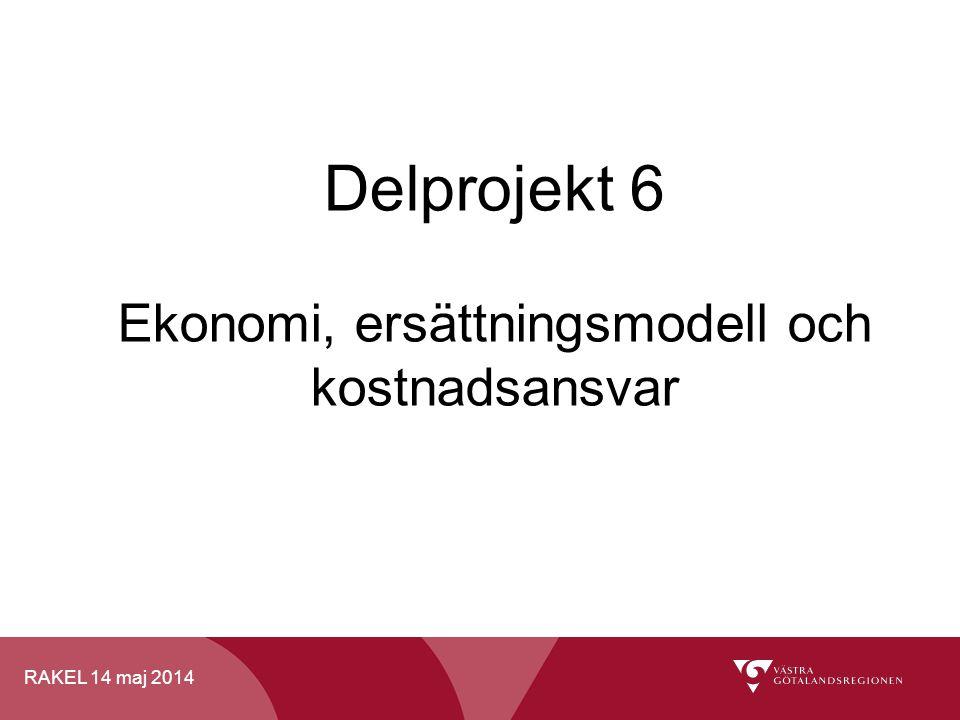 RAKEL 14 maj 2014 Delprojekt 6 Ekonomi, ersättningsmodell och kostnadsansvar