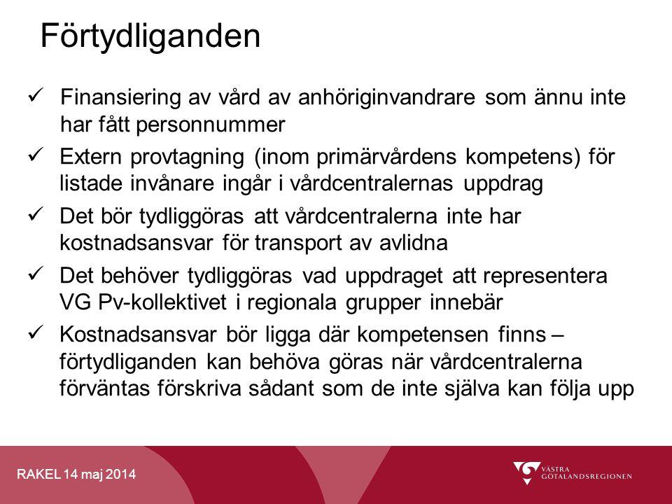 RAKEL 14 maj 2014 Finansiering av vård av anhöriginvandrare som ännu inte har fått personnummer Extern provtagning (inom primärvårdens kompetens) för