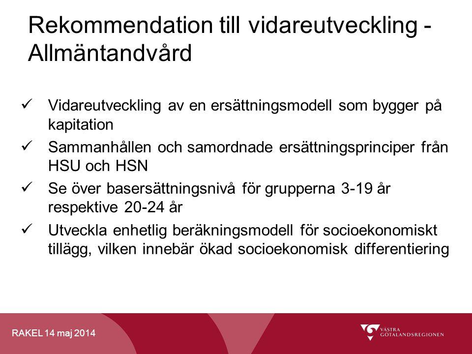 RAKEL 14 maj 2014 Vidareutveckling av en ersättningsmodell som bygger på kapitation Sammanhållen och samordnade ersättningsprinciper från HSU och HSN