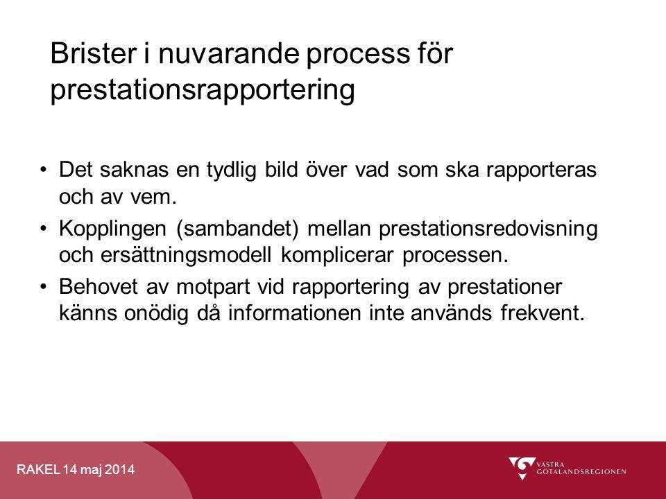 RAKEL 14 maj 2014 Brister i nuvarande process för prestationsrapportering Det saknas en tydlig bild över vad som ska rapporteras och av vem. Kopplinge