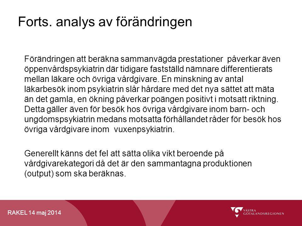 RAKEL 14 maj 2014 Forts. analys av förändringen Förändringen att beräkna sammanvägda prestationer påverkar även öppenvårdspsykiatrin där tidigare fast