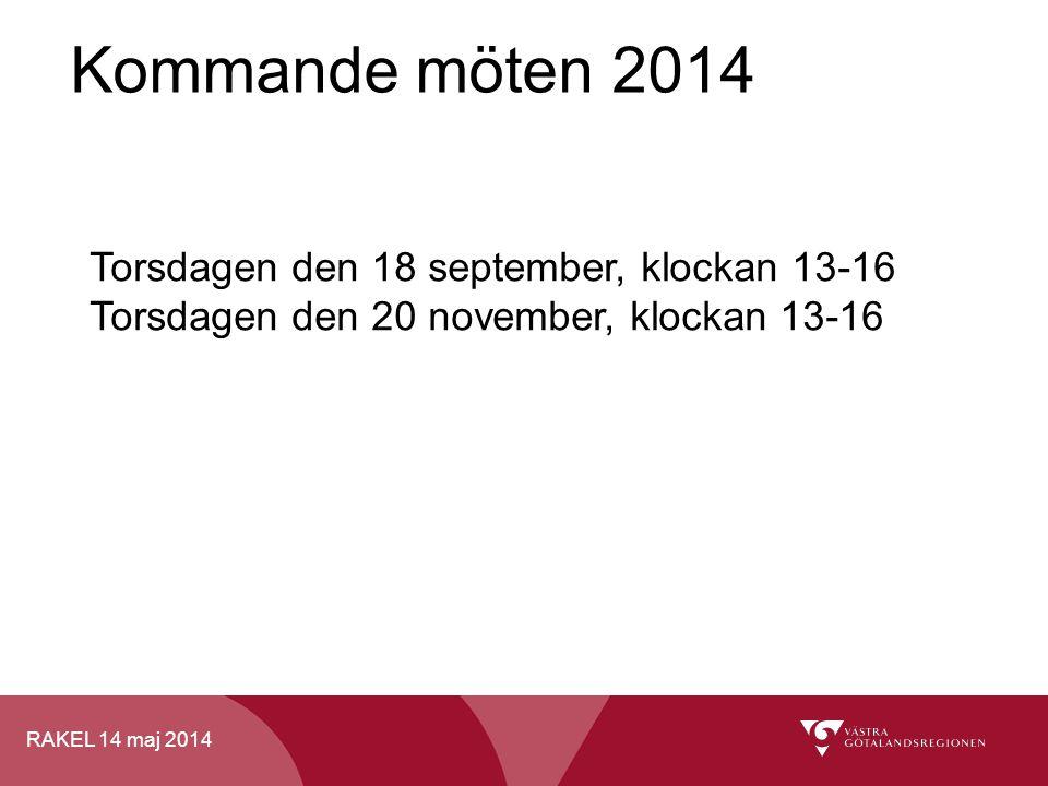 RAKEL 14 maj 2014 Kommande möten 2014 Torsdagen den 18 september, klockan 13-16 Torsdagen den 20 november, klockan 13-16