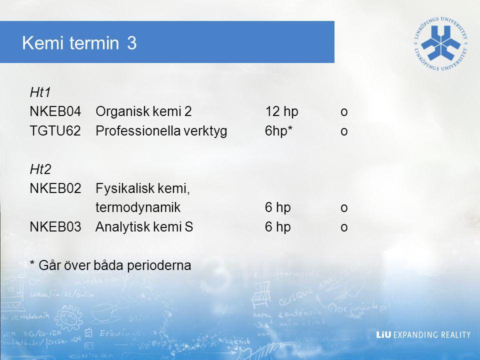 Kemi termin 5 Ht1 NKEC16Organisk analytisk kemi12 hpo NKEC23Molekylär design-projektkurs6 hp*o TEAE01Industriell ekonomi, grk6 hpv TFKE38Genteknik3 hpv TGTU60Informationssökning1,5 hpv TMQU03Offensiv kvalitetsutveckling, grk6 hpv Ht2 NKEC22Naturproduktskemi och läkemedel6 hpo NVFA09Farmakologi6 hpo TFTB45Bioinformatik3 hpv TGTU60Informationssökning1,5hpv *Kursen går över hela terminen.