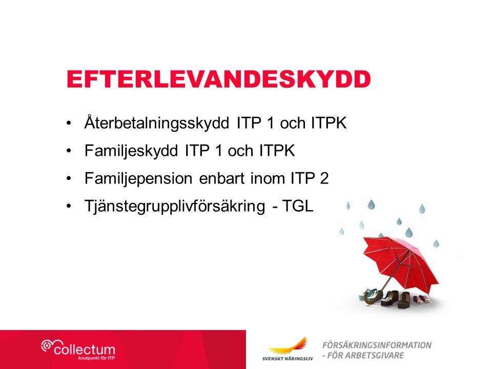 EFTERLEVANDESKYDD Återbetalningsskydd ITP 1 och ITPK Familjeskydd ITP 1 och ITPK Familjepension enbart inom ITP 2 Tjänstegrupplivförsäkring - TGL