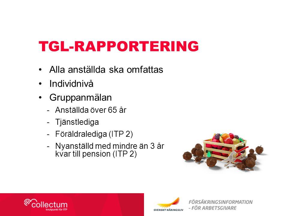 TGL-RAPPORTERING Alla anställda ska omfattas Individnivå Gruppanmälan -Anställda över 65 år -Tjänstlediga -Föräldralediga (ITP 2) -Nyanställd med mindre än 3 år kvar till pension (ITP 2)
