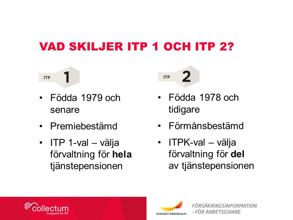 Födda 1979 och senare Premiebestämd ITP 1-val – välja förvaltning för hela tjänstepensionen VAD SKILJER ITP 1 OCH ITP 2? Födda 1978 och tidigare Förmå