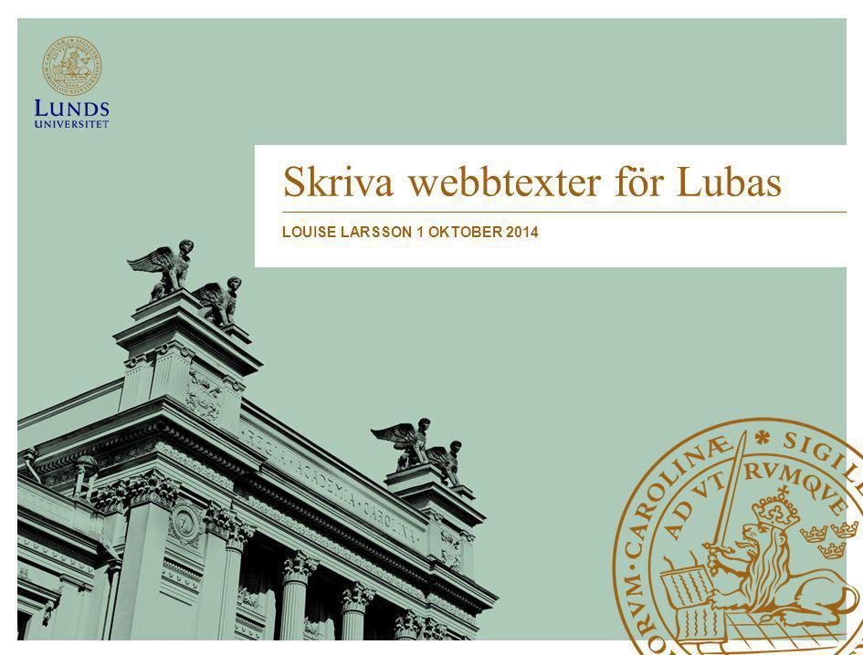 Skriva webbtexter för Lubas LOUISE LARSSON 1 OKTOBER 2014