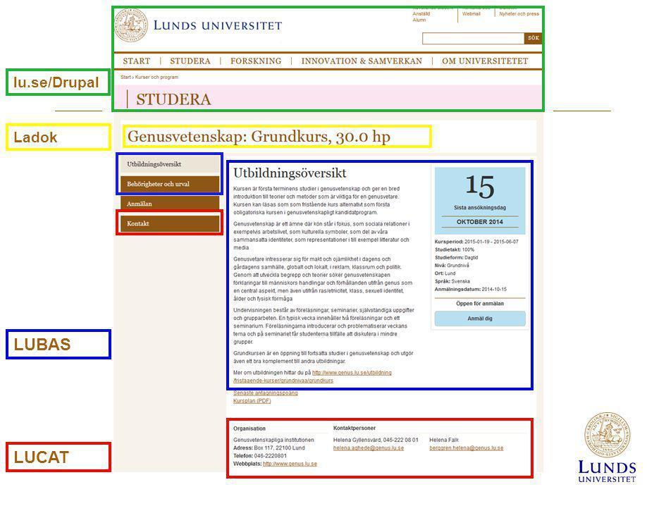 LUCAT LUBAS lu.se/Drupal Ladok
