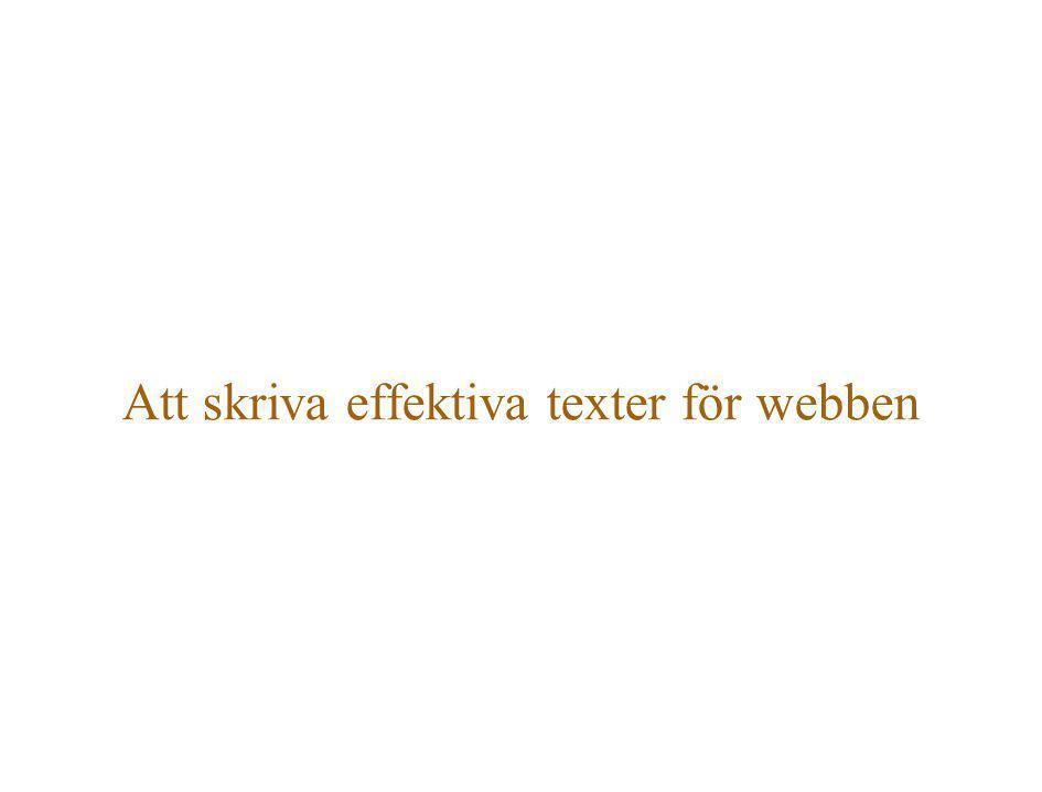 Att skriva effektiva texter för webben