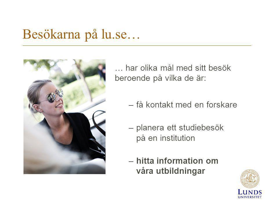 Besökarna på lu.se… … har olika mål med sitt besök beroende på vilka de är: –få kontakt med en forskare –planera ett studiebesök på en institution –hitta information om våra utbildningar